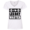 I'm Leg Day Wasted Tees Apparel CustomCat 88VL Anvil Ladies' V-Neck T-Shirt White Small