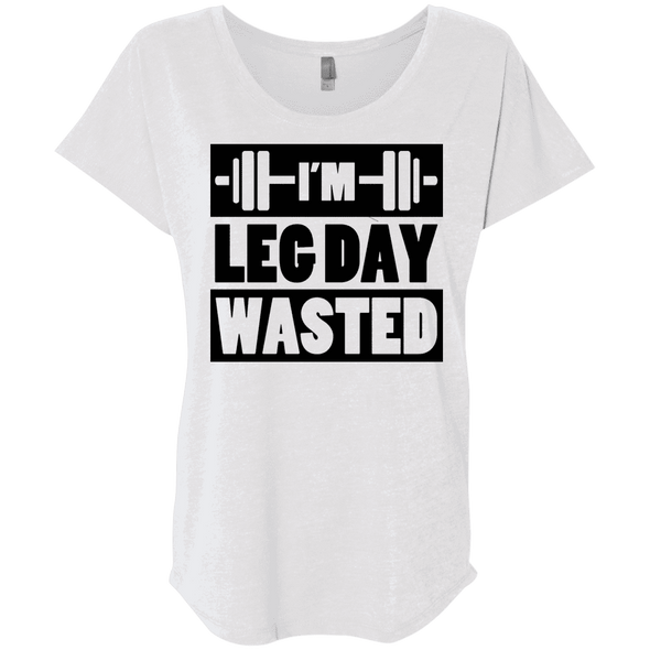 I'm Leg Day Wasted Tees Apparel CustomCat NL6760 Next Level Ladies' Triblend Dolman Sleeve Heather White X-Small