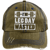 I'm Leg Day Wasted Trucker Cap Apparel CustomCat 6990 Distressed Unstructured Trucker Cap Brown/Navy One Size