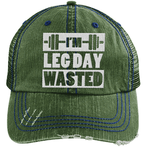 I'm Leg Day Wasted Trucker Cap Apparel CustomCat 6990 Distressed Unstructured Trucker Cap Dark Green/Navy One Size
