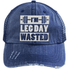 I'm Leg Day Wasted Trucker Cap Apparel CustomCat 6990 Distressed Unstructured Trucker Cap Navy/Navy One Size