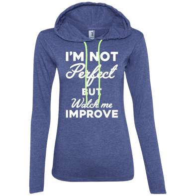 I'm not perfect but watch me improve (Hoodies) Apparel CustomCat 887L Anvil Ladies' LS T-Shirt Hoodie Heather Blue/Neon Yellow Small