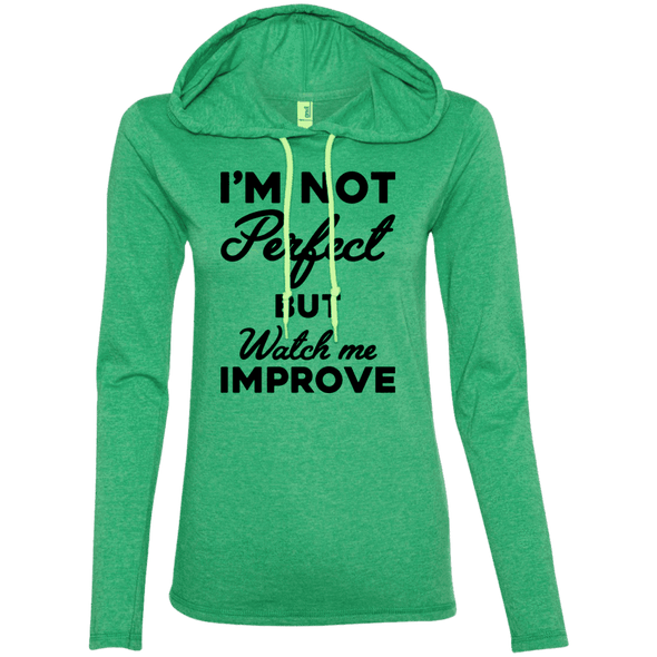 I'm not perfect but watch me improve (Hoodies) Apparel CustomCat 887L Anvil Ladies' LS T-Shirt Hoodie Heather Green/Neon Yellow Small