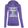 I'm not perfect but watch me improve (Hoodies) Apparel CustomCat 887L Anvil Ladies' LS T-Shirt Hoodie Heather Purple/Neon Yellow Small