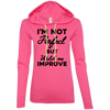 I'm not perfect but watch me improve (Hoodies) Apparel CustomCat 887L Anvil Ladies' LS T-Shirt Hoodie Hot Pink/Neon Yellow Small