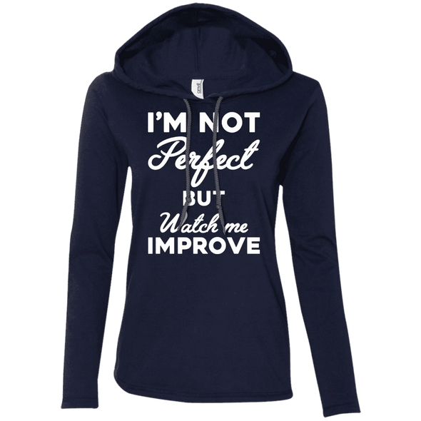 I'm not perfect but watch me improve (Hoodies) Apparel CustomCat 887L Anvil Ladies' LS T-Shirt Hoodie Navy/Dark Grey Small