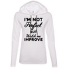 I'm not perfect but watch me improve (Hoodies) Apparel CustomCat 887L Anvil Ladies' LS T-Shirt Hoodie White/Dark Grey Small