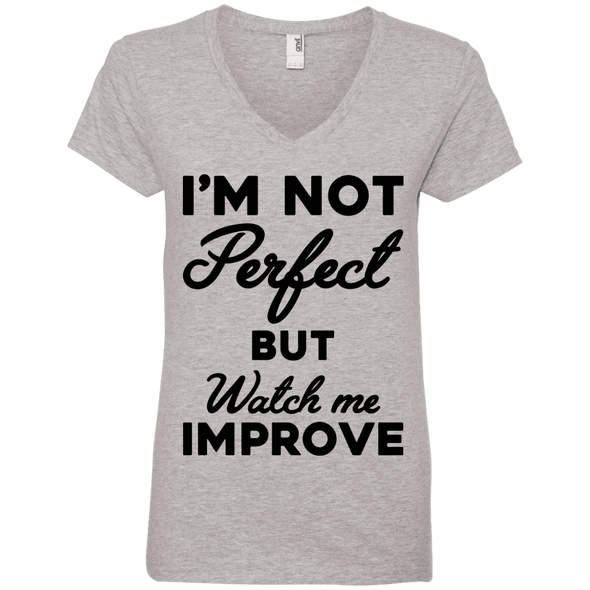 I'm not perfect but watch me improve (Tees) Apparel CustomCat 88VL Anvil Ladies' V-Neck T-Shirt Heather Grey Small