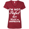 I'm not perfect but watch me improve (Tees) Apparel CustomCat 88VL Anvil Ladies' V-Neck T-Shirt Independence Red Small