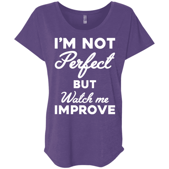I'm not perfect but watch me improve (Tees) Apparel CustomCat NL6760 Next Level Ladies' Triblend Dolman Sleeve Purple Rush X-Small