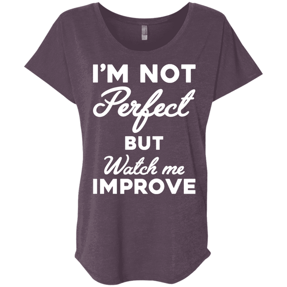 I'm not perfect but watch me improve (Tees) Apparel CustomCat NL6760 Next Level Ladies' Triblend Dolman Sleeve Vintage Purple X-Small