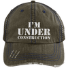 I'm Under Construction Distressed Trucker Cap Apparel CustomCat 6990 Distressed Unstructured Trucker Cap Brown/Navy One Size