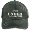 I'm Under Construction Distressed Trucker Cap Apparel CustomCat 6990 Distressed Unstructured Trucker Cap Dark Green/Navy One Size