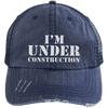 I'm Under Construction Distressed Trucker Cap Apparel CustomCat 6990 Distressed Unstructured Trucker Cap Navy/Navy One Size