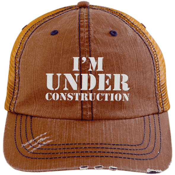 I'm Under Construction Distressed Trucker Cap Apparel CustomCat 6990 Distressed Unstructured Trucker Cap Orange/Navy One Size