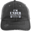 I'm Under Construction NEW Trucker Cap Apparel CustomCat 6990 Distressed Unstructured Trucker Cap Black/Grey One Size