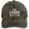 I'm Under Construction NEW Trucker Cap Apparel CustomCat 6990 Distressed Unstructured Trucker Cap Brown/Navy One Size