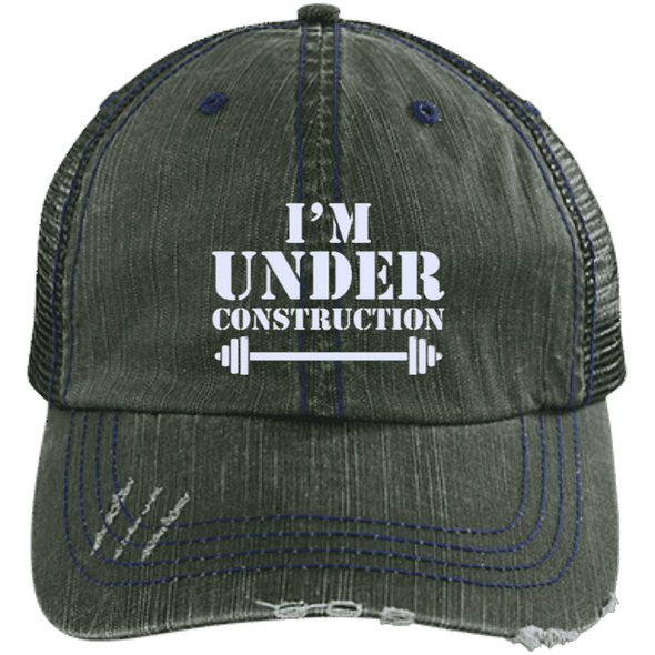 I'm Under Construction NEW Trucker Cap Apparel CustomCat 6990 Distressed Unstructured Trucker Cap Dark Green/Navy One Size