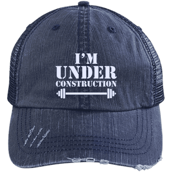 I'm Under Construction NEW Trucker Cap Apparel CustomCat 6990 Distressed Unstructured Trucker Cap Navy/Navy One Size