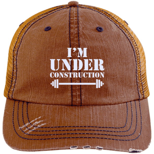 I'm Under Construction NEW Trucker Cap Apparel CustomCat 6990 Distressed Unstructured Trucker Cap Orange/Navy One Size