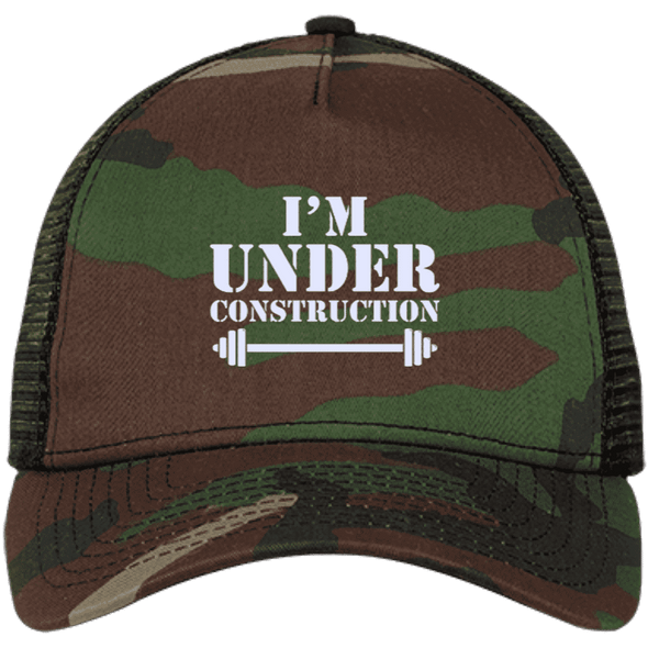 I'm Under Construction NEW Trucker Cap Apparel CustomCat NE205 New Era® Snapback Trucker Cap Camo/Black One Size