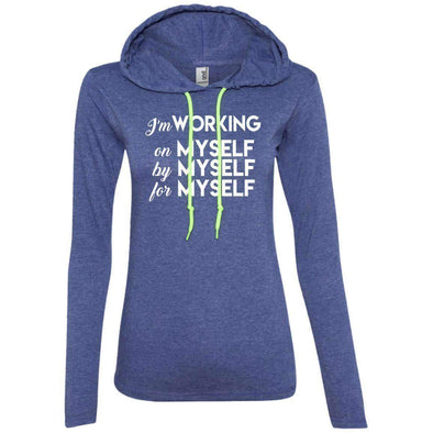 I'm working for myself T-Shirts CustomCat Heather Blue/Neon Yellow Small