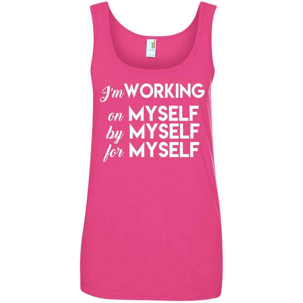 I'm working for myself T-Shirts CustomCat Hot Pink Small