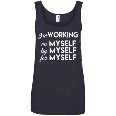 I'm working for myself T-Shirts CustomCat Navy Small