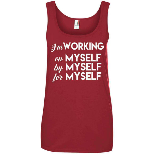 I'm working for myself T-Shirts CustomCat Red Small