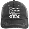 In a Relationship with Gym Trucker Cap Apparel CustomCat 6990 Distressed Unstructured Trucker Cap Black/Grey One Size