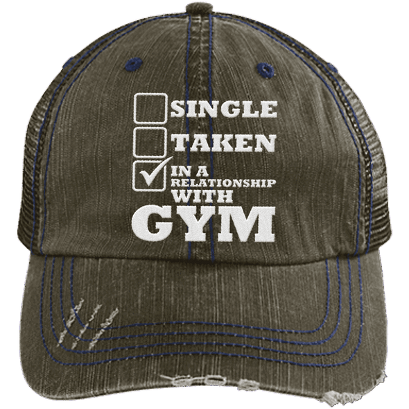In a Relationship with Gym Trucker Cap Apparel CustomCat 6990 Distressed Unstructured Trucker Cap Brown/Navy One Size
