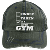 In a Relationship with Gym Trucker Cap Apparel CustomCat 6990 Distressed Unstructured Trucker Cap Dark Green/Navy One Size