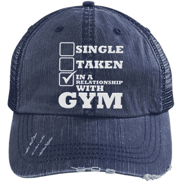 In a Relationship with Gym Trucker Cap Apparel CustomCat 6990 Distressed Unstructured Trucker Cap Navy/Navy One Size