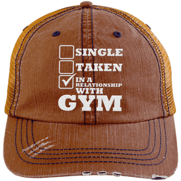 In a Relationship with Gym Trucker Cap Apparel CustomCat 6990 Distressed Unstructured Trucker Cap Orange/Navy One Size