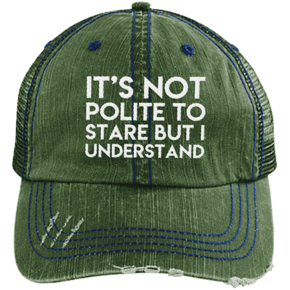 It's Not Polite to Stare Hats CustomCat Dark Green/Navy One Size