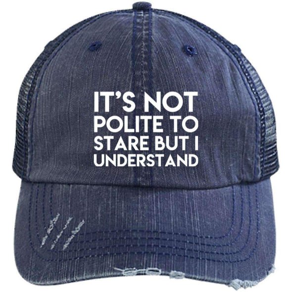 It's Not Polite to Stare Hats CustomCat Navy/Navy One Size