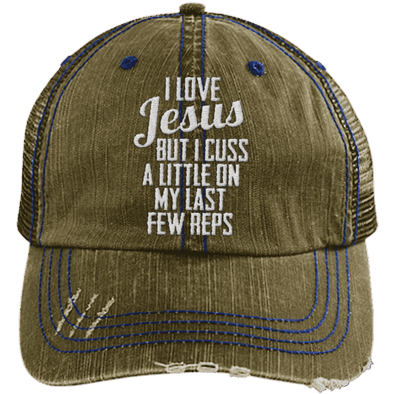 Jesus Cuss A Little Hats CustomCat Brown/Navy One Size