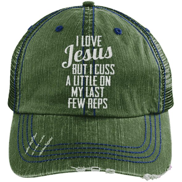 Jesus Cuss A Little Hats CustomCat Dark Green/Navy One Size