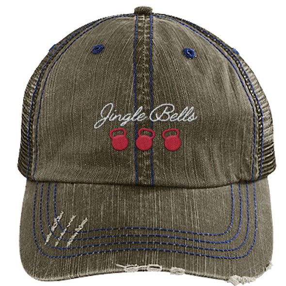 Jingle Bells Cap Apparel CustomCat Distressed Trucker Cap Brown/Navy One Size