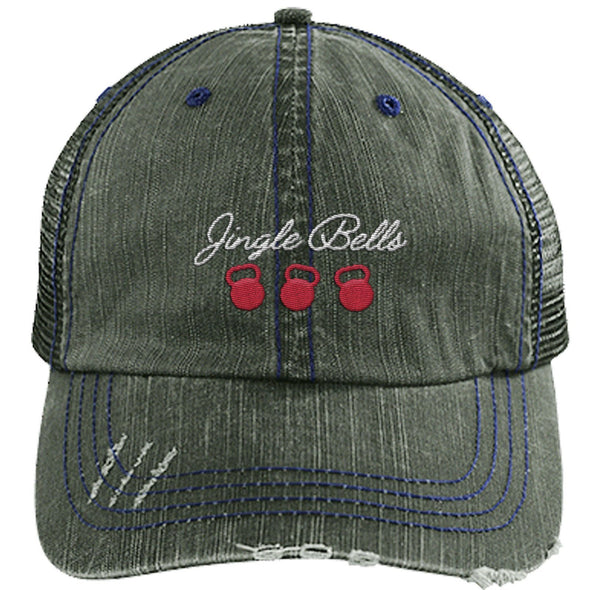 Jingle Bells Cap Apparel CustomCat Distressed Trucker Cap Dark Green/Navy One Size