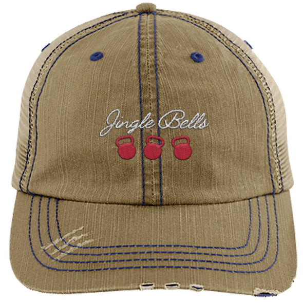Jingle Bells Cap Apparel CustomCat Distressed Trucker Cap Khaki/Navy One Size