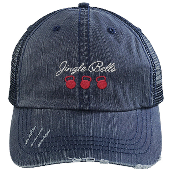 Jingle Bells Cap Apparel CustomCat Distressed Trucker Cap Navy/Navy One Size