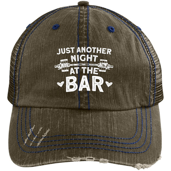 Just Another Night at the Bar Caps Apparel CustomCat 6990 Distressed Unstructured Trucker Cap Brown/Navy One Size