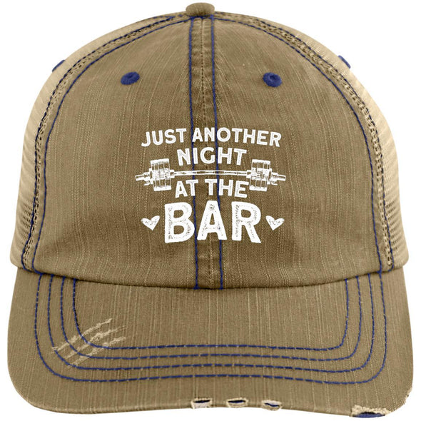 Just Another Night at the Bar Caps Apparel CustomCat 6990 Distressed Unstructured Trucker Cap Khaki/Navy One Size