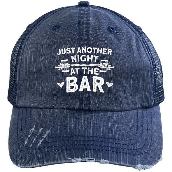 Just Another Night at the Bar Caps Apparel CustomCat 6990 Distressed Unstructured Trucker Cap Navy/Navy One Size
