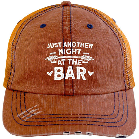 Just Another Night at the Bar Caps Apparel CustomCat 6990 Distressed Unstructured Trucker Cap Orange/Navy One Size