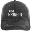 Just Bring It Distressed Trucker Hat Apparel CustomCat 6990 Distressed Unstructured Trucker Cap Black/Grey One Size