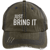 Just Bring It Distressed Trucker Hat Apparel CustomCat 6990 Distressed Unstructured Trucker Cap Brown/Navy One Size