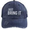 Just Bring It Distressed Trucker Hat Apparel CustomCat 6990 Distressed Unstructured Trucker Cap Navy/Navy One Size
