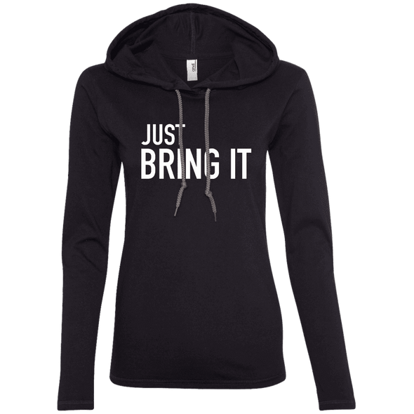 Just Bring It Hoodies Apparel CustomCat 887L Anvil Ladies' LS T-Shirt Hoodie Black/Dark Grey Small